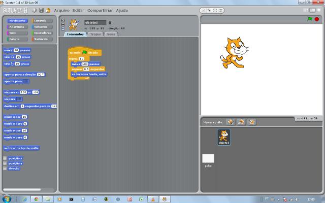 Tela do programa Scratch
