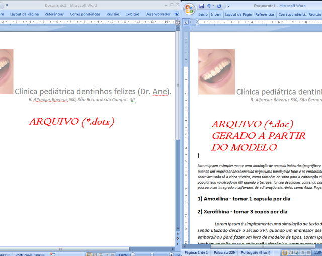 modelo vs docto preenchido