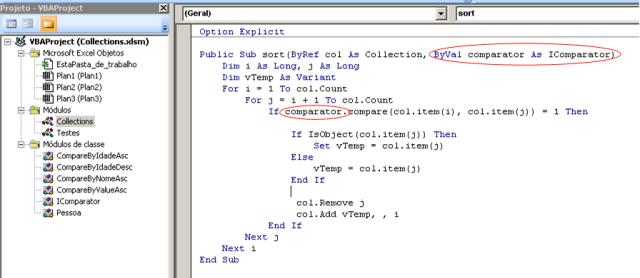 Código VBA - Módulo Collections