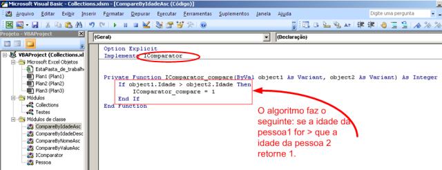 Código VBA - Classe que implementa o algorítmo de comparação de pessoas por idade