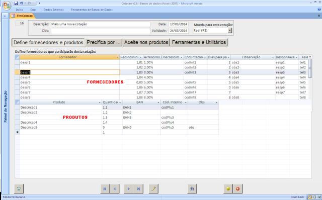 cotação com dados importados