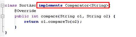 Código Java - destaque para interface Comparator
