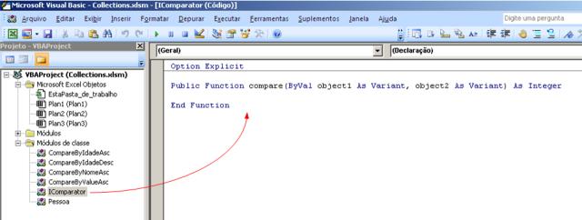 Código VBA - módulo de classe que representará uma interface