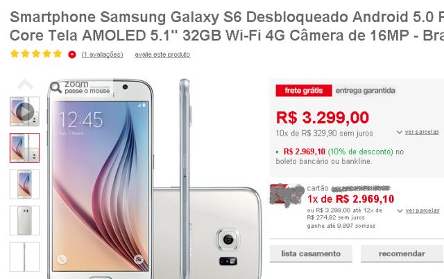 Galaxy S6 Estudo de Juros